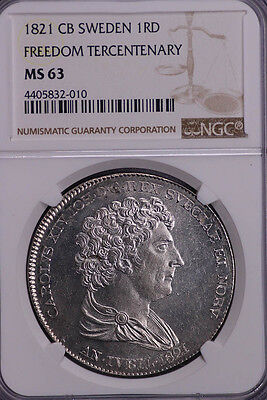 Ngc-Ms63 1821 Cb Sweden 1Rd Freedom Tercentenary Bu