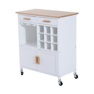 "34.3"" W  Rolling Kitchen Utility Trolley Serving Cart Bamboo Top w/ Wine Rack"