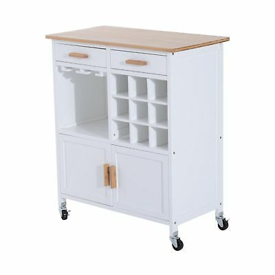 Wood Rolling Kitchen Trolley Bamboo Top Serving Cart Cabinet Drawer Wine Racks