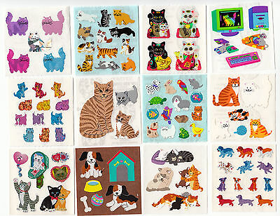 Vintage Sandylion Cats and Dogs Stickers Glitter Prism Kromekote - You Choose