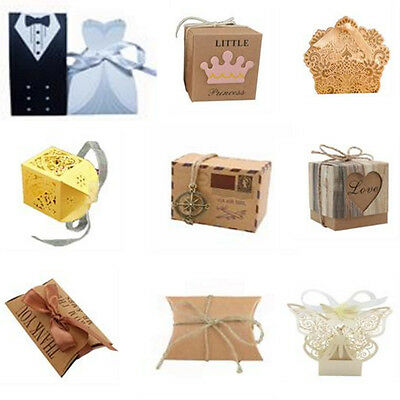 10/50/100 x Kraft Paper Butterfly Cut Candy Cake Boxes Wedding Party Gifts Favor