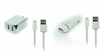 2.1A Car+Wall AC Home Charger+5ft USB Cable Cord for Apple iPhone 7 Plus 7 SE