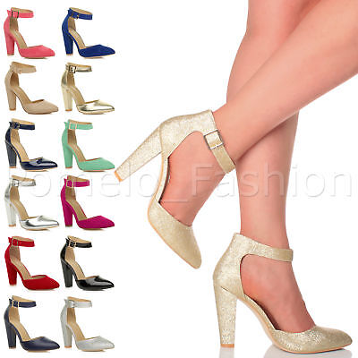 Womens Ladies Block High Heel Ankle Strap Smart Work Pointed Court Shoes Size