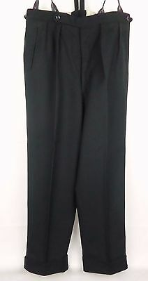 Vtg 40s/50s Style Black Button Fly Brace Tab Wool Trousers Turn Ups W34 DY90