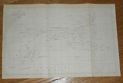 1856 Antique Map Chart Showing Track of the Flagships US Japan Perry Expedition