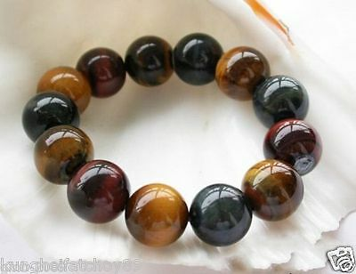 18mm Natural Red Yellow Blue Tiger Eye Stone Round Gemstone Stretchy Bracelet