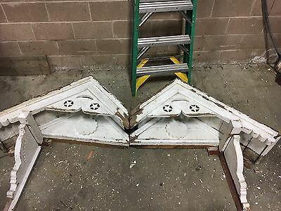 circa 1880's Victorian gingerbread house gable pediment double peak star & moon