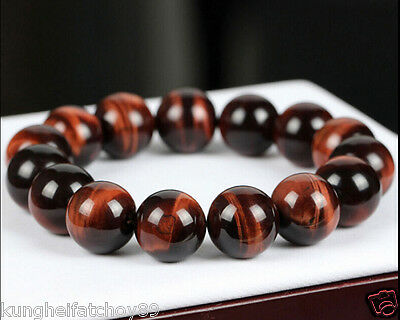 Natural 18mm Gemstone Tigers Eye Stone Beads Woman Man jewelry Bracelet