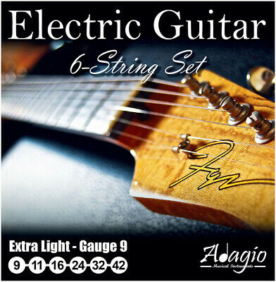 ELECTRIC GUITAR Strings Full Set 9-42 Nickel Extra Light Adagio Pro + FREE CHART