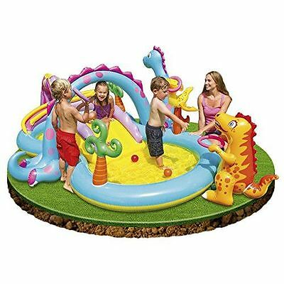 Dinosaur Water Paddling Pool with Arch Water Spray Outdoor Family Summer