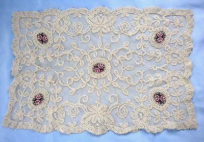 Lovely Vintage Lace Net Table Cover With Hand Stiched Petit Point Insets