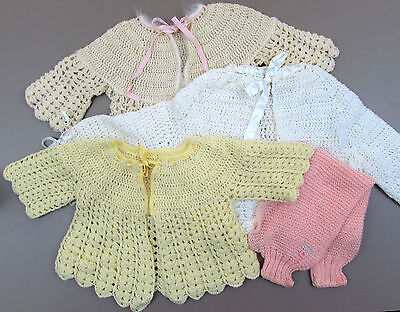 Vintage baby & doll sweater lot of 3 crochet sweaters - white, ivory and yellow