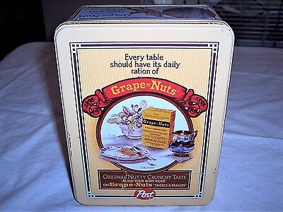 Vintage Post Cereal Grape Nuts Replica Advertisements Tin Can Box Metal Canister