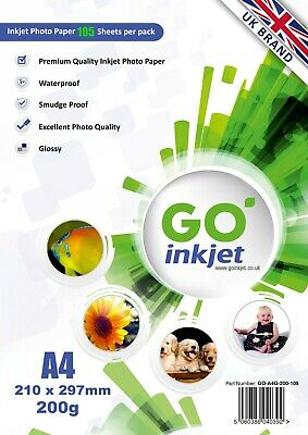 100 Sheets A4 200gsm Glossy Photo Paper Plus Extra 5 Sheets by Go Inkjet