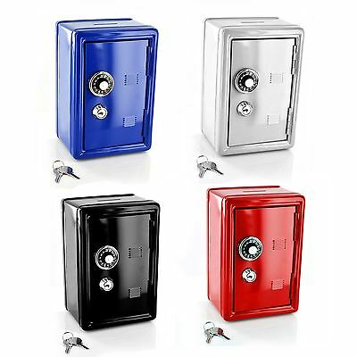 New Safe Security Metal Money Bank Deposit Cash Savings Saving Box 2 Keys