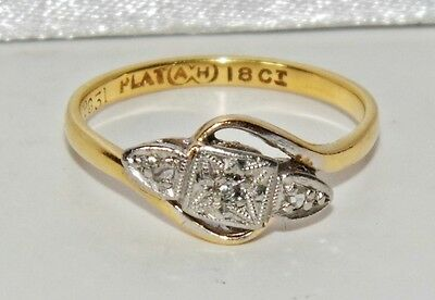 Antique 18ct Yellow Gold & Platinum Diamond Trilogy Ring - size J