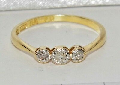 Antique 18ct Yellow Gold & Platinum Diamond Three Stone Ring - size M