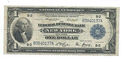 1918 One Dollar $1 National Currency Note Federal Reserve Bank of New York