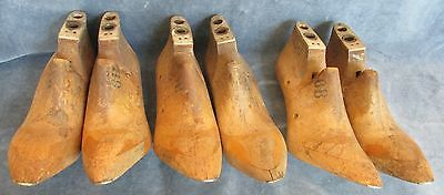 3 Pair of Vintage Cobblers Wooden Shoe Mold Last Forms T.W. Gardiner Br.