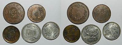 JAPAN : 5 OLD COINS - Includes Silver - QUALITY LOT