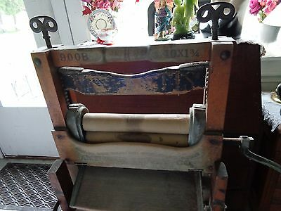 Antique American Soilly? Co.Clothes Wringer w/ Folding Bench Late 1901 Mass.