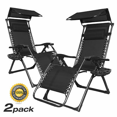 2xCanopy Black Zero Gravity Chair Chaise Outdoor Patio Furniture Seat Deck Loung