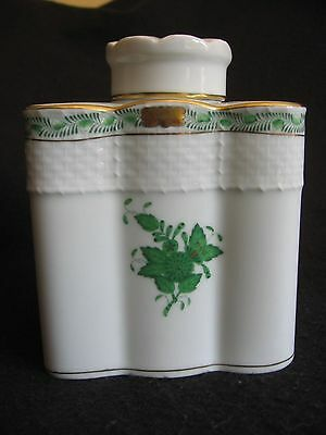 HEREND 'CHINESE BOUQUET' in GREEN PORCELAIN TEA CADDY & LID #6466 c.1990's EX