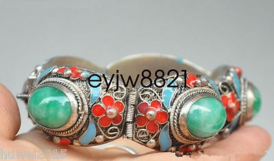 Exquisite Chinese Cloisonne Silver Inlaid Jade Bracelet Nr