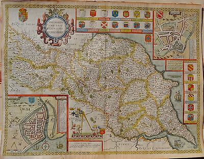 ORIGINAL 1600s JOHN SPEED MAP OF YORKSHIRE- NORTH & EAST RIDINGS, HAND COLOURED