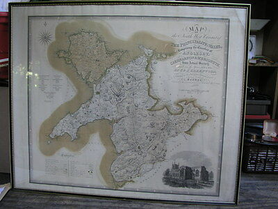 Antique Framed Map of North Wales Caernarvon & Anglesey C & J Greenwood 1834