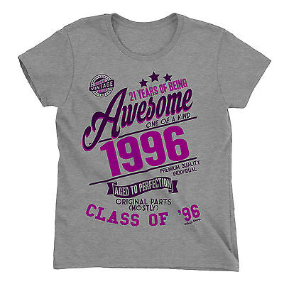 21 Years Of Being AWESOME Ladies 21st T-Shirt Class of 1996 Birthday Gift