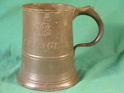 Antique Imperial Pint Pewter Tankard Cross Guns inscribed