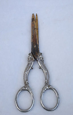 Antique French Sterling Silver Grape Scissors 1900