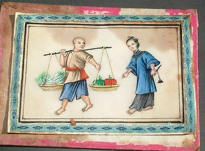 Antique Oriental Rice Paper Pith Painting