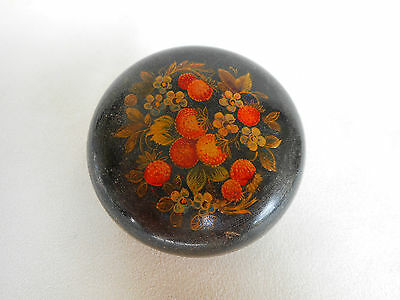 Russian Lacquered Box Round Vintage ~ Decorated with Wild strawberries - Lovely