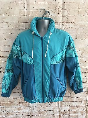 VTG Jazzy Shell Suit Jacket Retro Rave 80s Sports Festival Large Small P&P