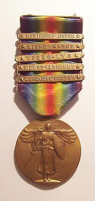 VINTAGE WW I Victory Medal with 5 Battle Bars