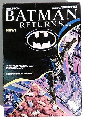 P459. Vintage: BATMAN RETURNS CEREAL w/ Real Cocoa Full Box by Ralston (1992)