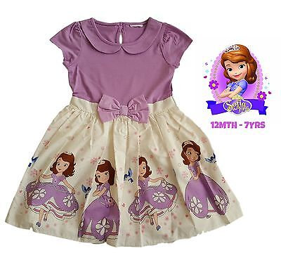 Girls Dress Kids Baby Party Summer Outfit Purple Disney Princess Sofia NEW