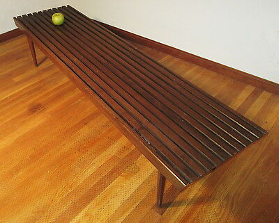 George Nelson Style Slat Platform Bench Coffee Table Walnut Mid Century Modern