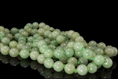 """Vintage Chinese Green Jade Beads Silver Necklace Long 37"""""""