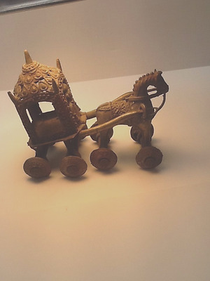 INDIA: Old and large bronze horses & carriage Temple toy
