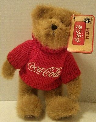 "COCA-COLA BOYDS Plush BEAR Johnny 8"" Coke Button on Foot POP Soda NEW WITH TAGS"