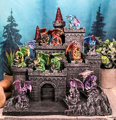 Medieval Mini Dragons Guarding King's Landing Castle Fortress Display Statue Set