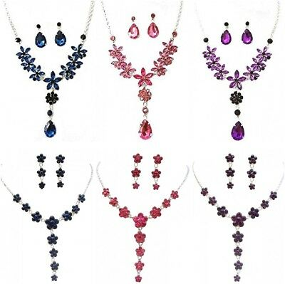 Silver Blue Pink Purple Flower Crystal Diamante Necklace Earrings Set Bridesmaid