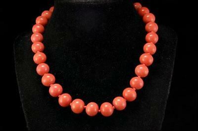 Antique Chinese Salmon Coral Peking Glass Beads 14K Gold Necklace D63-06