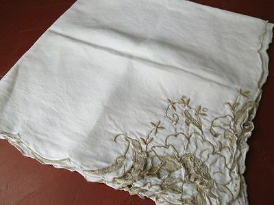 """Vintage Madeira LINEN Tablecloth - Taupe embroidery cutwork floral 34"""" square"""