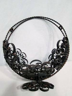 Vintage Black Metal Wroght Iron Planter Basket Handle French Country Ornate Chic