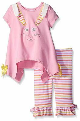 """NEW Bonnie Jean Baby Girls """"PINK BUNNY"""" Size 18M bOuTiQuE Top Pants EASTER NWT"""