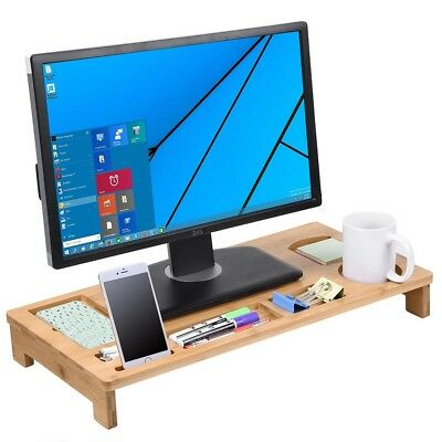 Bamboo Monitor Stand Riser w/ Desktop Storage Organizer TV Laptop Home Office